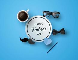 Carte de voeux bonne fête des pères avec moustache, cravate et lunettes en papier découpé vecteur