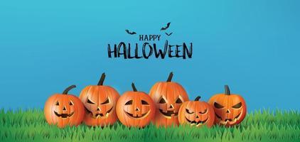 bannière de voeux joyeux halloween avec des citrouilles et des chauves-souris vecteur