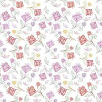motif floral de ligne transparente. s'épanouir d'origine ethnique orientale carrelée. ornement arabe avec des fleurs et des feuilles fantastiques. motifs de lignes tracées des peintures de motifs de tissus indiens de l'Est. vecteur