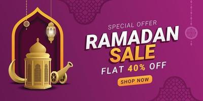 conception de promotion de modèle de bannière carrée remise ramadan vente vecteur