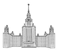 Université d'État de Moscou, Moscou, Russie. célèbre bâtiment de gratte-ciel russe isolé. signe de repère de voyage vecteur