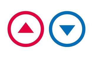 conception de ligne icône flèche vers le bas vecteur rouge et bleu