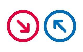icône de la ligne de conception flèche rouge et bleu vecteur