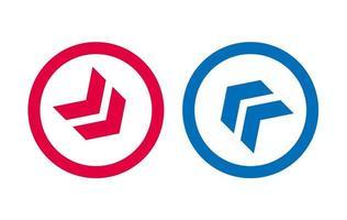 flèche icône ligne design design rouge et bleu