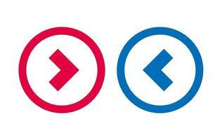flèche gauche droite icône conception de la ligne bleue et rouge vecteur