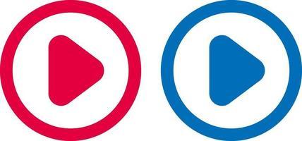 icône de flèche jouer la conception de la ligne bleue et rouge vecteur