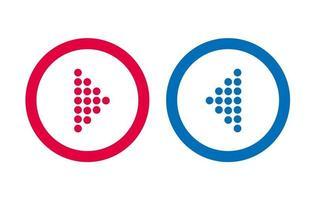 icône de flèche bleue et rouge de conception