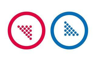 conception flèche icône ligne vecteur rouge et bleu
