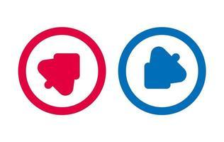 flèche arbre icône ligne design rouge et bleu