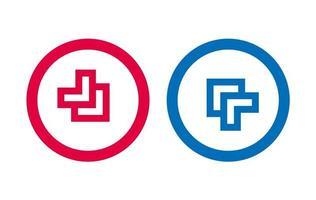 conception dicône ligne flèche rouge et bleu