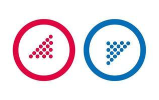 conception flèche ligne icône vecteur rouge et bleu