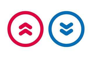 conception flèche icône ligne rouge et bleu vecteur