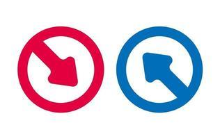flèche icône ligne design vecteur rouge et bleu