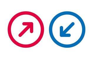Ligne d & # 39; icône de conception flèche rouge et bleu vecteur