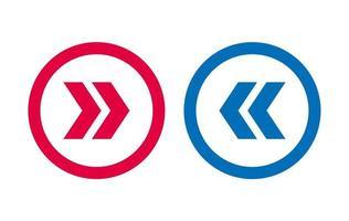 icône de flèche gauche droite design bleu et rouge vecteur