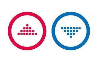 conception icône de ligne flèche bleue et rouge vecteur