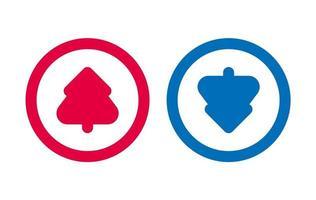 arbre de conception flèche vers le bas icône bleu et rouge vecteur