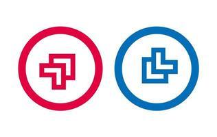 flèche ligne icône du design rouge et bleu vecteur