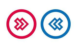 conception de ligne bleue et rouge icône flèche moderne vecteur