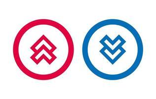 flèche vers le bas icône conception de la ligne bleue et rouge vecteur