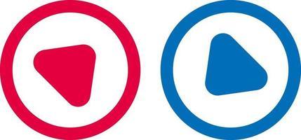 flèche jouer ligne icône design rouge et bleu vecteur