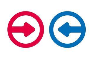 icône de flèche de conception rouge et bleu vecteur