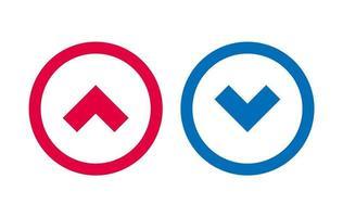 flèche vers le bas icône ligne bleue et rouge vecteur