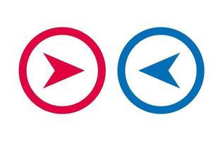 icône de flèche de conception ligne bleue et rouge vecteur