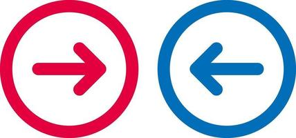 icône de flèche ligne de conception bleue et rouge vecteur