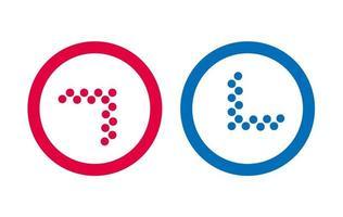 conception ligne icône flèche vecteur rouge et bleu