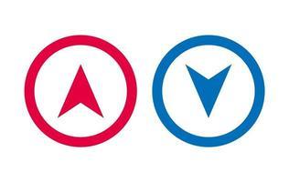 icône de flèche de conception bleu et rouge vecteur