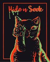 silhouette d'animal de compagnie rouge et vert avec des contours rouges et verts. fond simple avec un animal abstrait levant la patte et assis. art numérique de chat avec côtés néon lumineux. vecteur