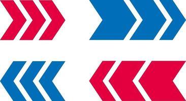 icône de flèche design bleu et rouge vecteur