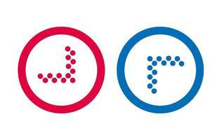 conception icône ligne flèche vecteur rouge et bleu