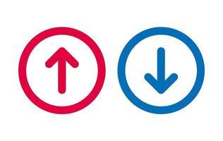 conception icône flèche vers le bas bleu et rouge