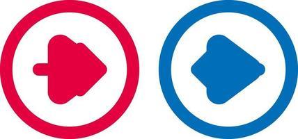conception de ligne bleue et rouge icône flèche vecteur