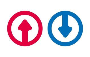 icône de ligne de flèche design rouge et bleu