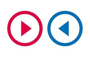 icône flèche ligne design vecteur rouge et bleu