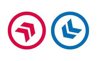 flèche ligne icône design design rouge et bleu vecteur