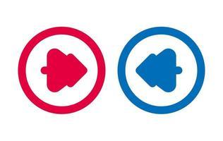 icône de flèche arbre design bleu et rouge vecteur