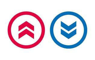 icône de flèche vers le haut bleu et rouge design