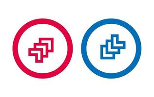 icône de ligne de conception de flèche rouge et bleu