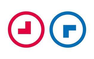 flèche ligne icône design rouge et bleu vecteur