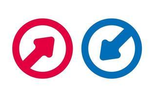 icône de conception de ligne de flèche vecteur rouge et bleu