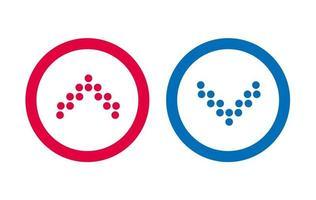 icône du design ligne flèche bleue et rouge