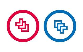 conception de flèche ligne icône rouge et bleu vecteur