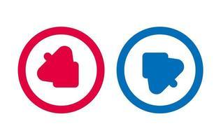 flèche, arbre, ligne, icône, conception, rouges, et, bleu vecteur
