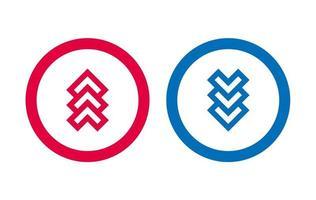 icône de ligne de conception de flèche rouge et bleu vecteur