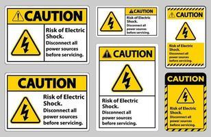 Attention, risque de choc électrique symbole ensemble de signes