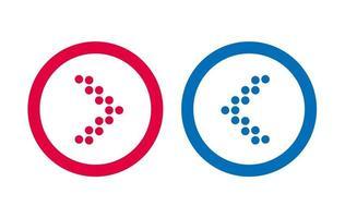 icône de la ligne de conception flèche bleue et rouge vecteur